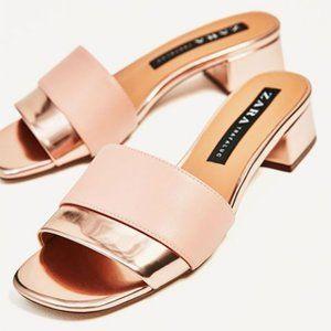 Zara Pink/ Rose Gold Block Heel Sandal EUC, 6